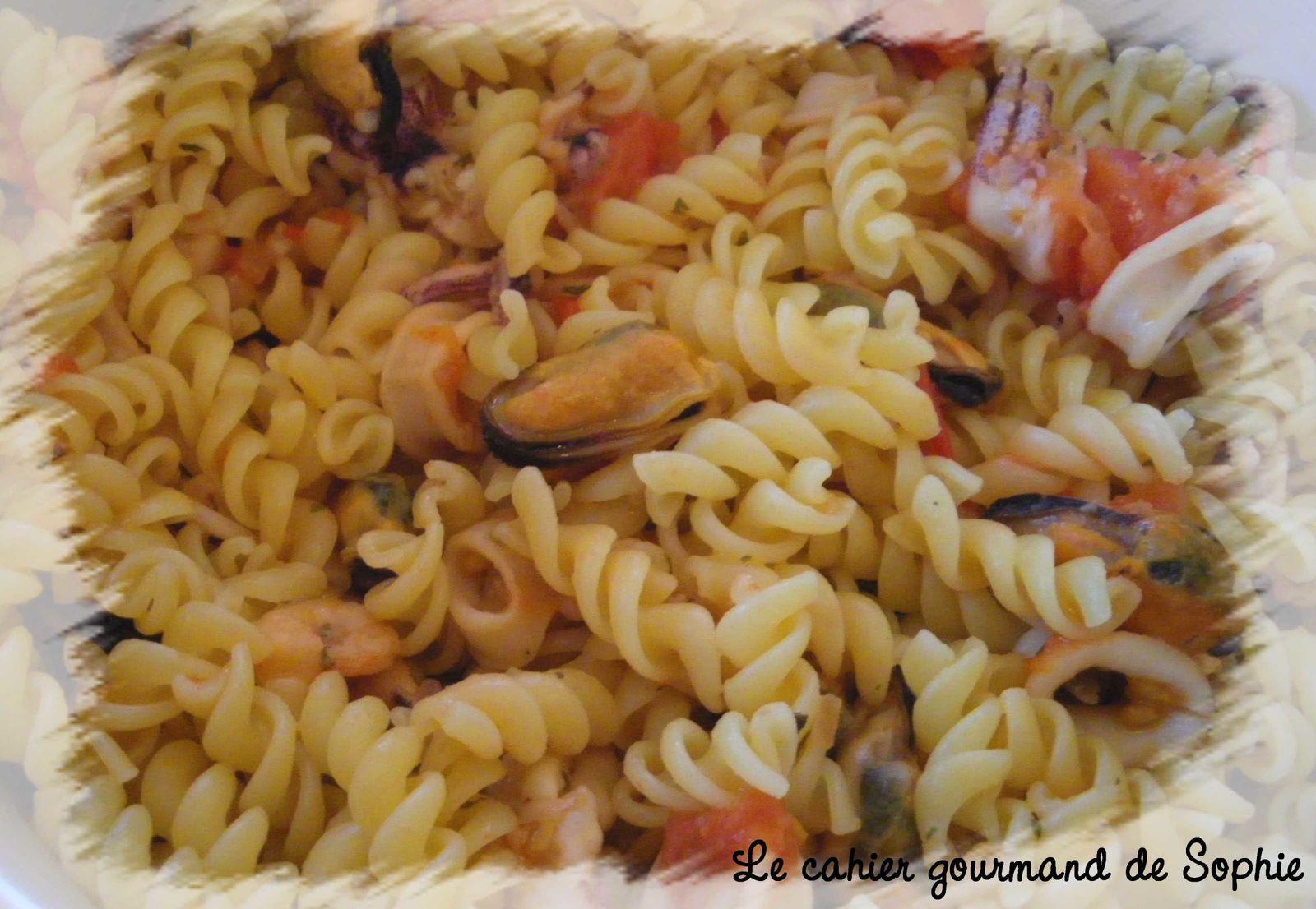 P tes aux fruits de mer recette l g re le cahier gourmand de sophie - Pates aux fruits de mer vin blanc ...