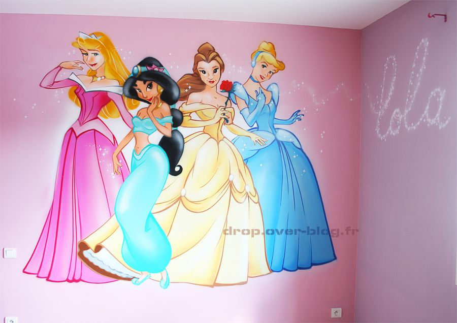 Le blog de drop r alisation fresques murales chambre d - Chambre fille princesse disney ...