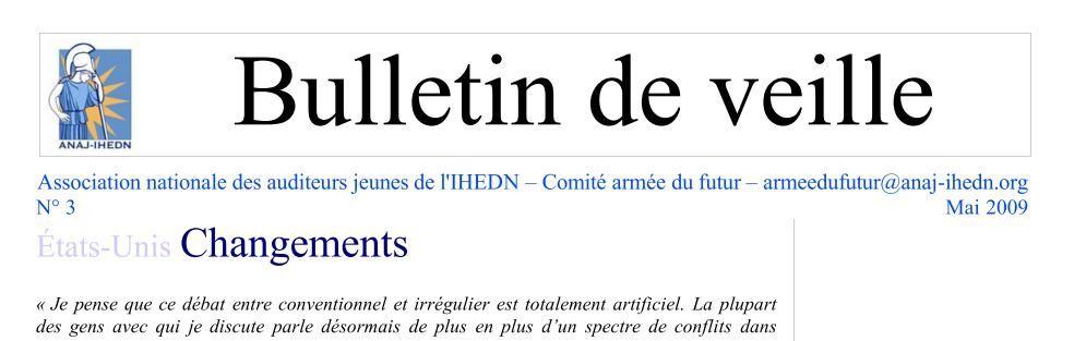 comité Armée du futur de l'ANAJ-IHEDN : bulletin de veille n°3 mai 2009