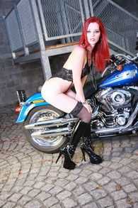 Claire Redhead on Harley Davidson