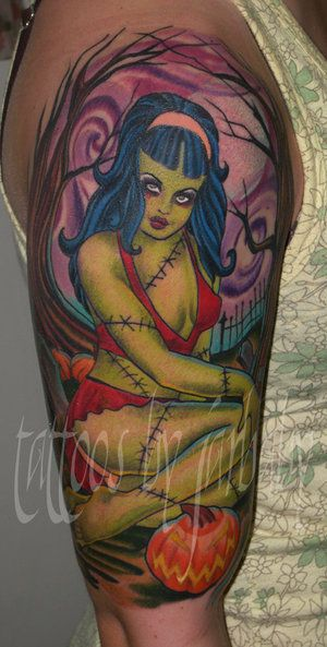 tattoos 0345 zombie girl by jarbaby