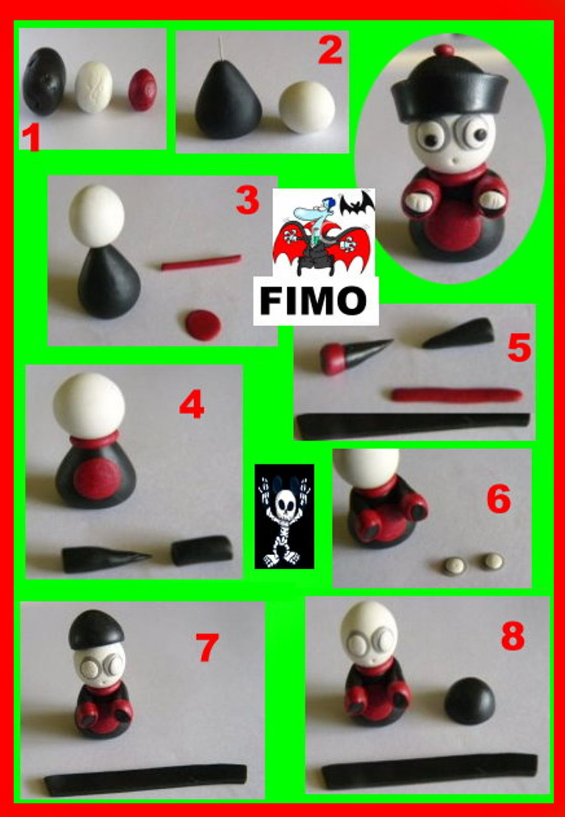 pate sel fabrication et fimo recette fiche technique fimo sculpey haloween vampire. Black Bedroom Furniture Sets. Home Design Ideas