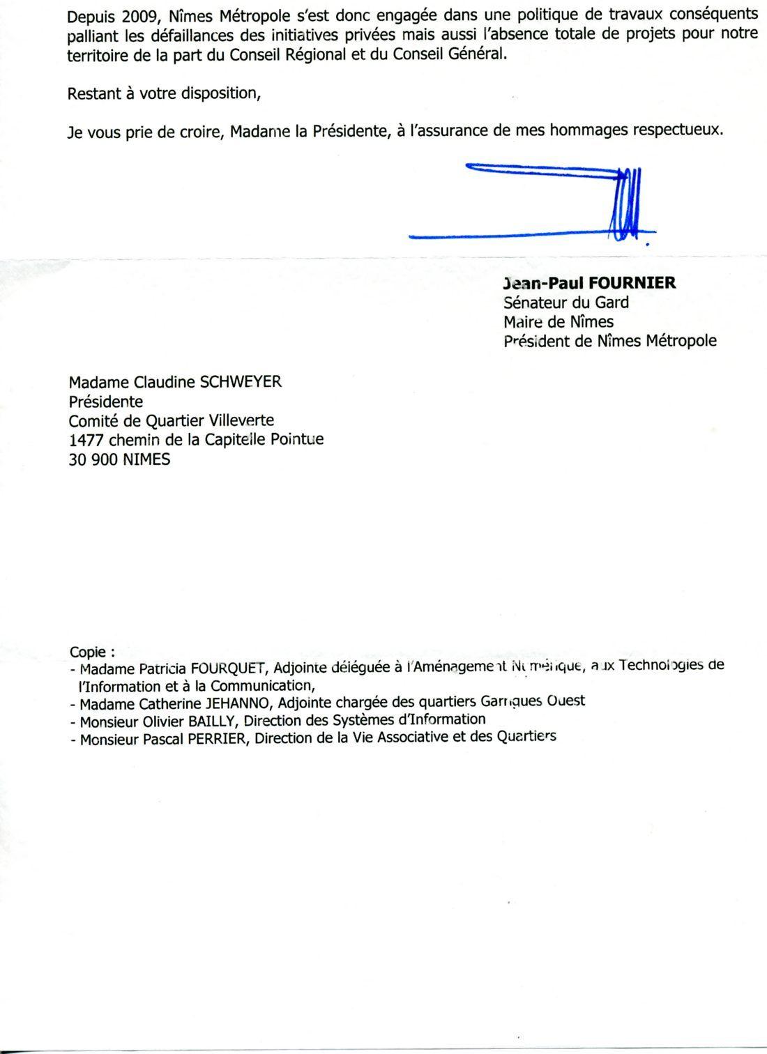fibre optique   lettre de monsieur le maire