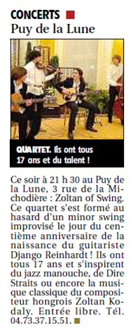 ZOLTAN OF SWING 4 - la presse