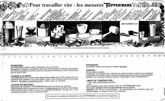 mesures tupperware