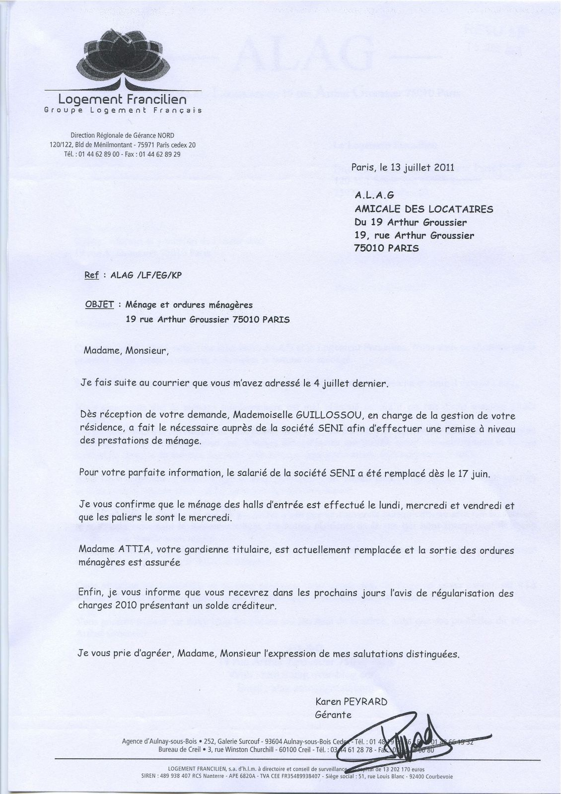 courrier taxe ordure menagere