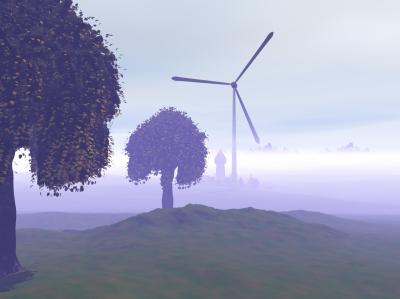 Landschaft Morgennebel Windkraftwerk 400