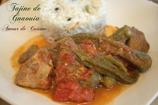 tajine de gnaouia, bamya a la viande au riz