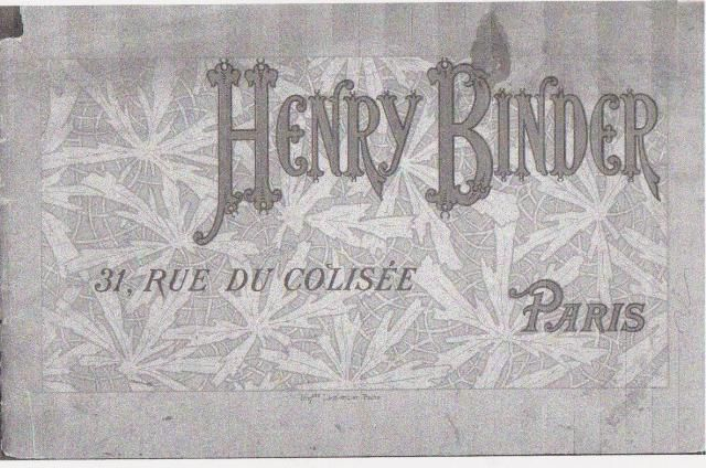 Catalogue de Henry Binder en lien avec l'article