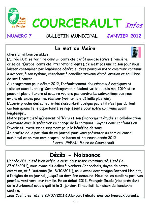 COURCERAULT INFOS N° 7 p1
