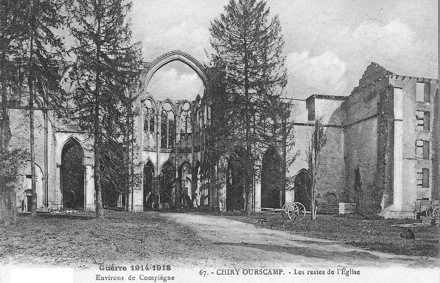 Album - le village de Chiry-Ourscamp, l'Abbaye Notre-Dame d'Ourscamp (Oise), les destructions au cours de la guerre