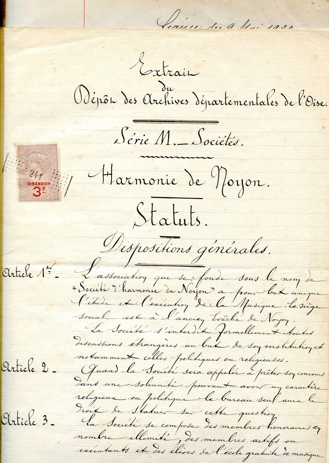 Album - la ville de Noyon (Oise), l'orchestre d'harmonie, sa création
