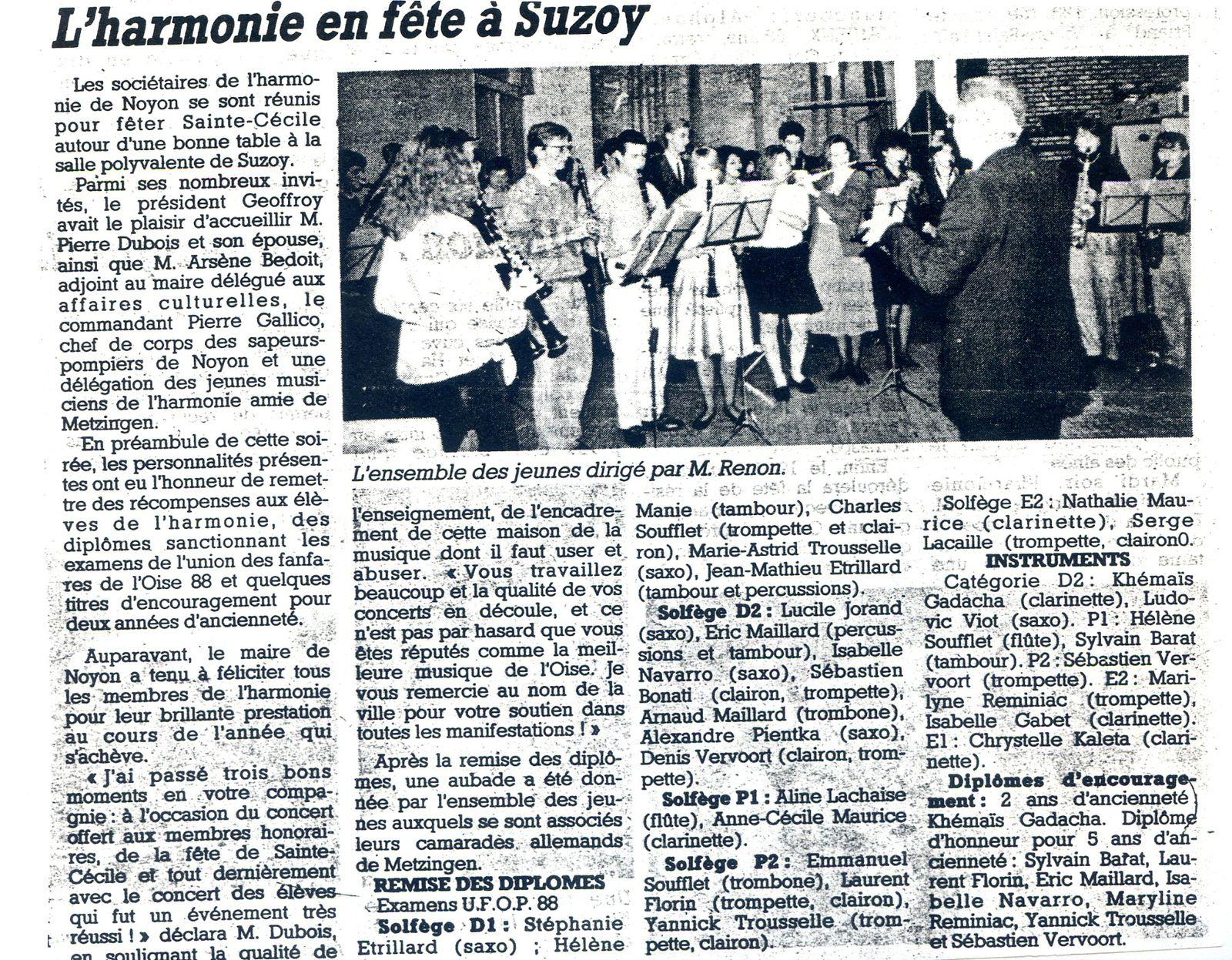 Album - la ville de Noyon (Oise), l'orchestre d'harmonie aux différentes manifestations de 1980 à 1989
