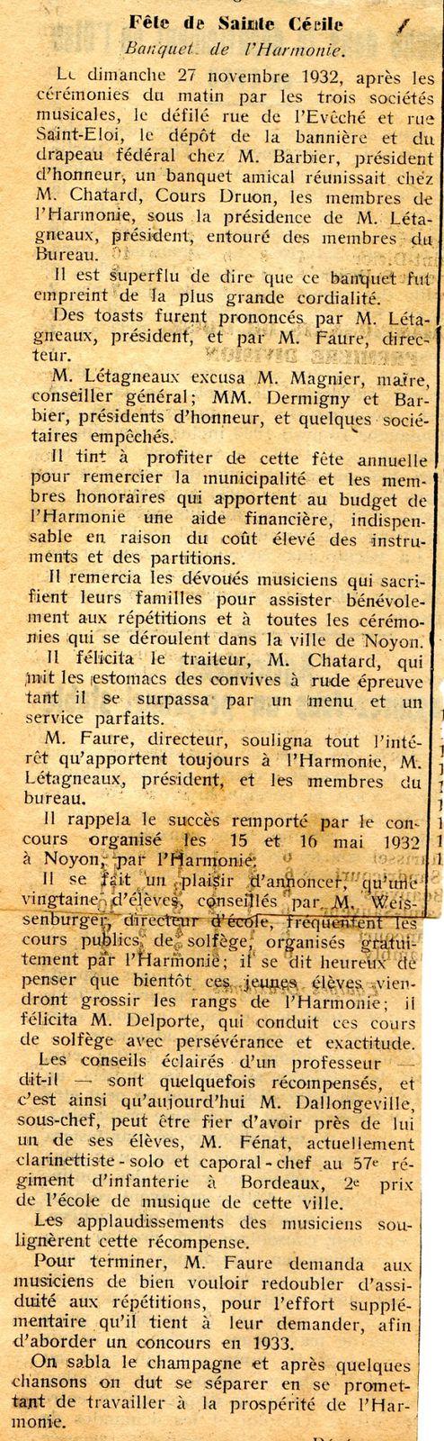 Album - la ville de Noyon (Oise), l'orchestre d'harmonie, ses banquets