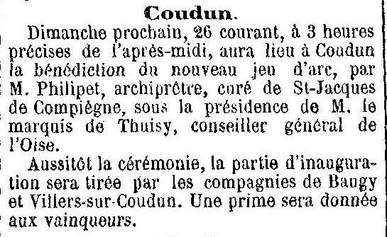 Album - le village de Coudun (Oise), au cours des mois des années 1800 et 1900