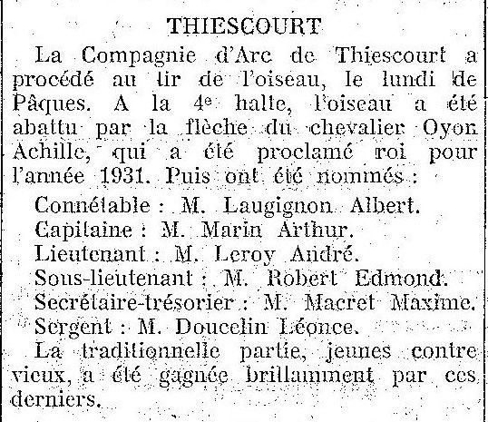 Album - le village de Thiescourt (Oise) au fil des mois au cours des années 1800 et 1900