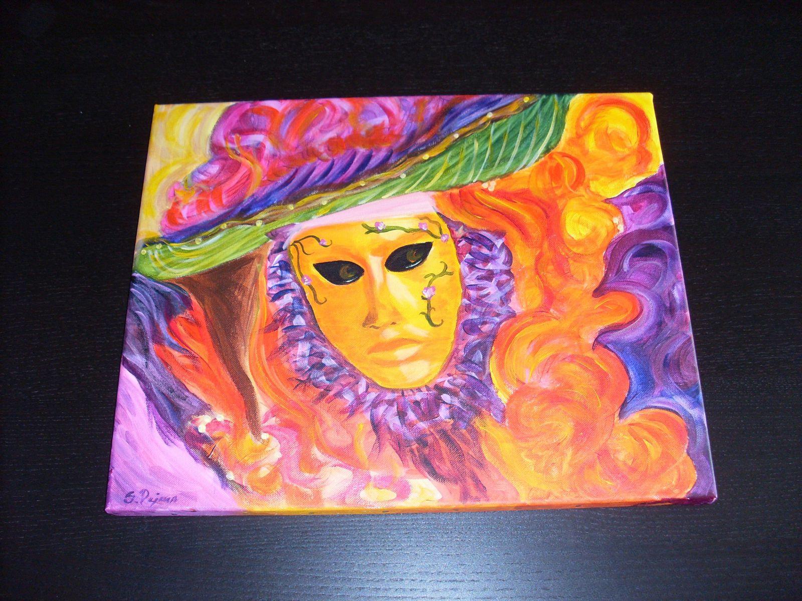 Tableau acrylique masque de venise carnaval atelier des couleurs par s dejean - Masque a peinture ...