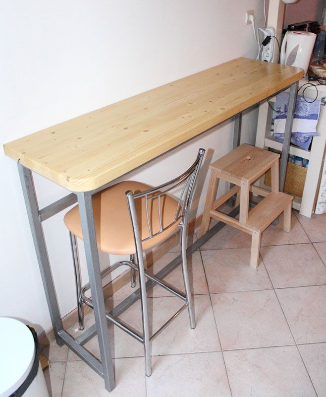 Cr ation d 39 une table bar cuisine b tir sa maison - Modele de table de cuisine en bois ...