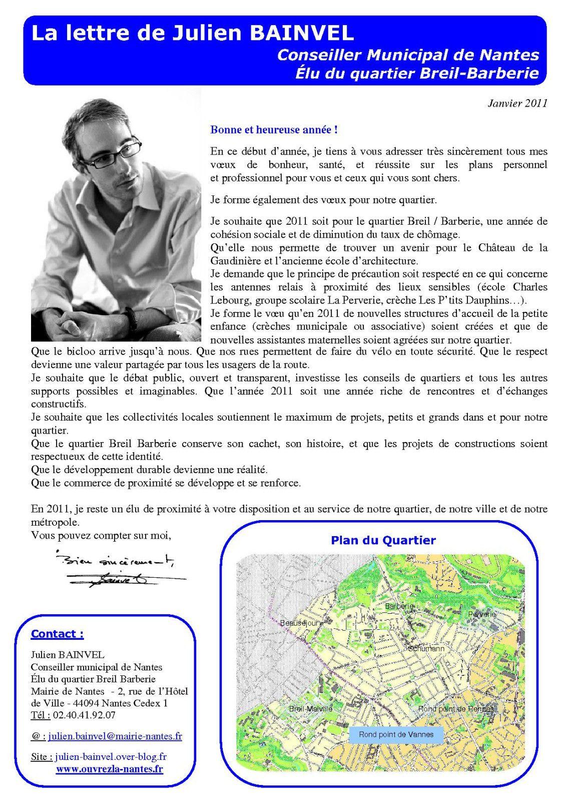 La Lettre de Julien Bainvel Janvier 2011 P1