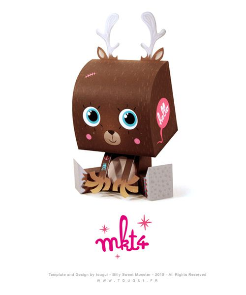 Paper toys Billy Sweet Monster by Tougui & custom by MKT4