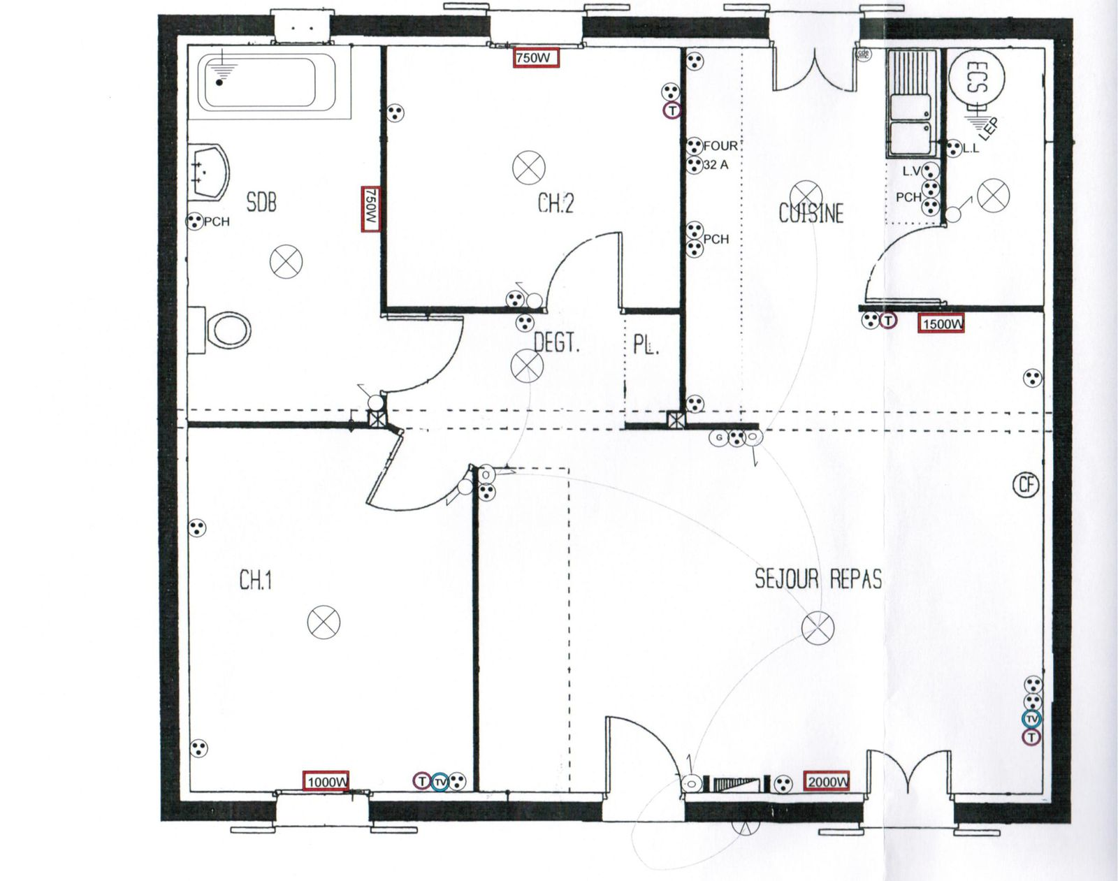 Awesome plan type de maison gallery for Plan maison en u