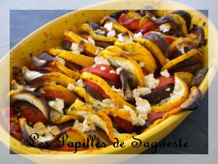 recette de tian aubergines courgettes tomates et feta les papilles de sagweste. Black Bedroom Furniture Sets. Home Design Ideas