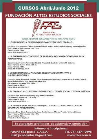 CURSOS FAES ABRIL A JUNIO 2012