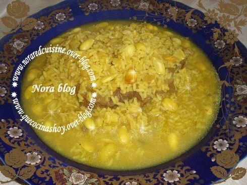 Tajine viande riz amandes