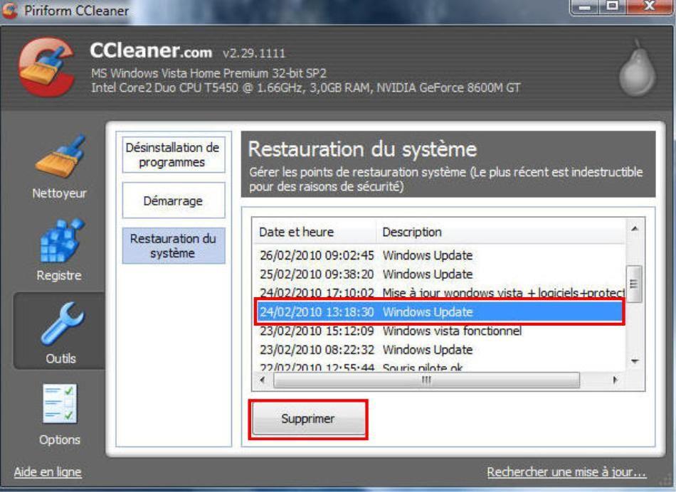 Windows  Suppression Points De Restauration