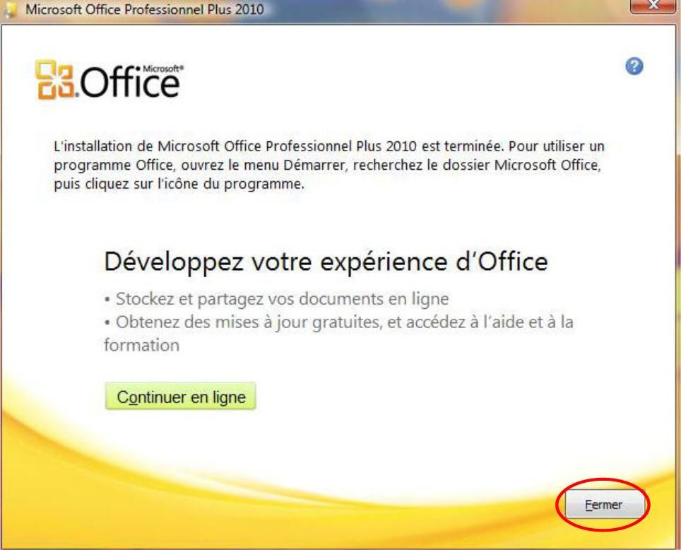 activation office professionnel 2010