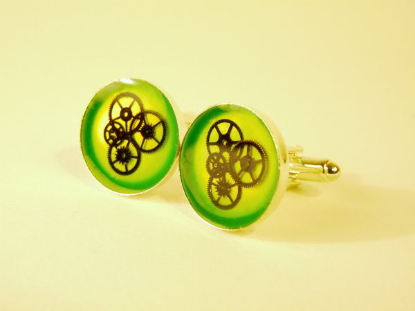 Boutons de manchettes engrenages Granny Smith