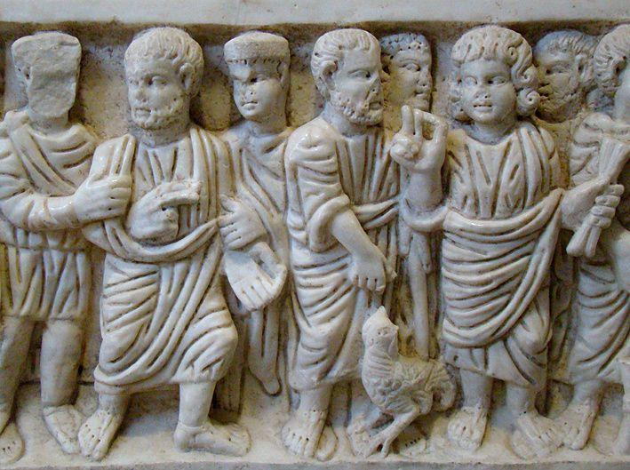 Arrestation et reniement de Pierre (sarcophage paléochrétien) Arles