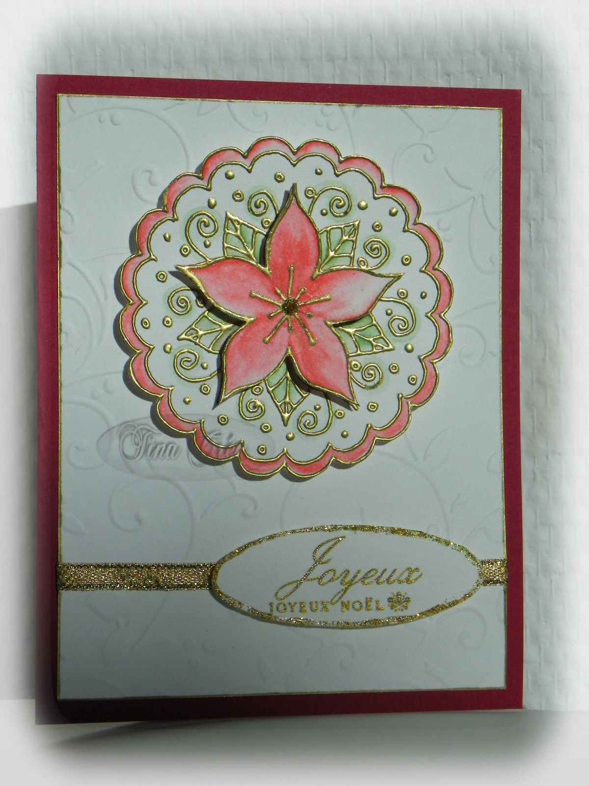 Carte poinsettia tina crea for Entree vite faite simple