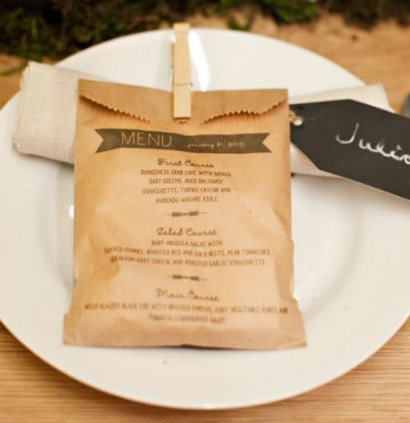 le sachet en papier menu pour bapteme communion ou mariage d coration de m. Black Bedroom Furniture Sets. Home Design Ideas