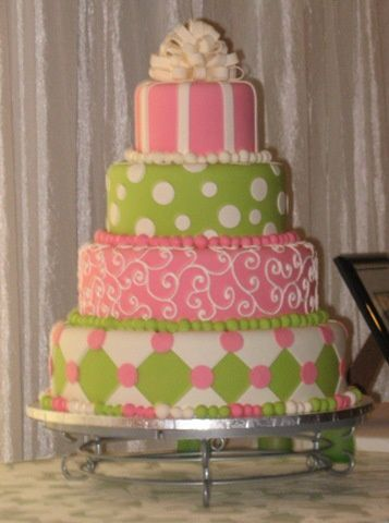 Decoration bapteme fille vert et rose - Decoration gateau bapteme fille ...