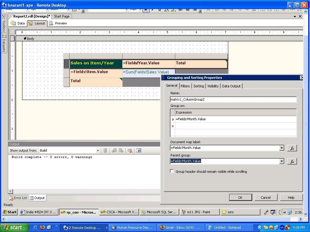Advanced Reporting with Matrix Control in SSRS - Balavardhan Reddy