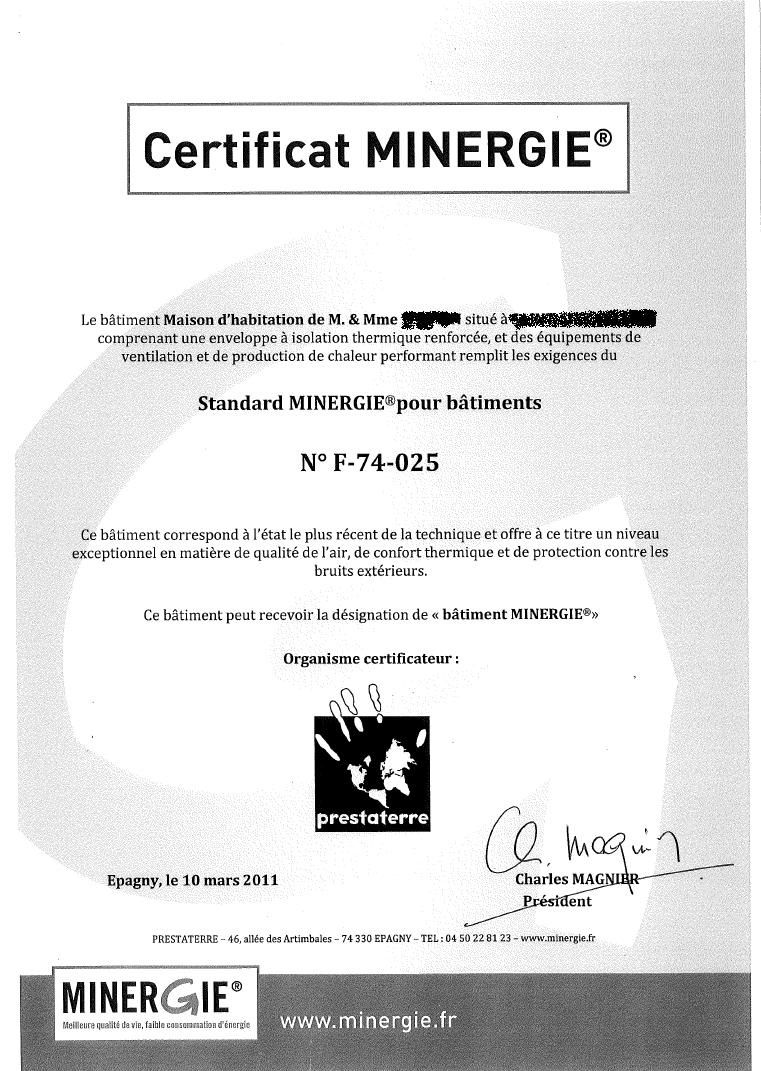 certificat final minergie construction maison en bois bioclimatique et cologique en haute savoie. Black Bedroom Furniture Sets. Home Design Ideas