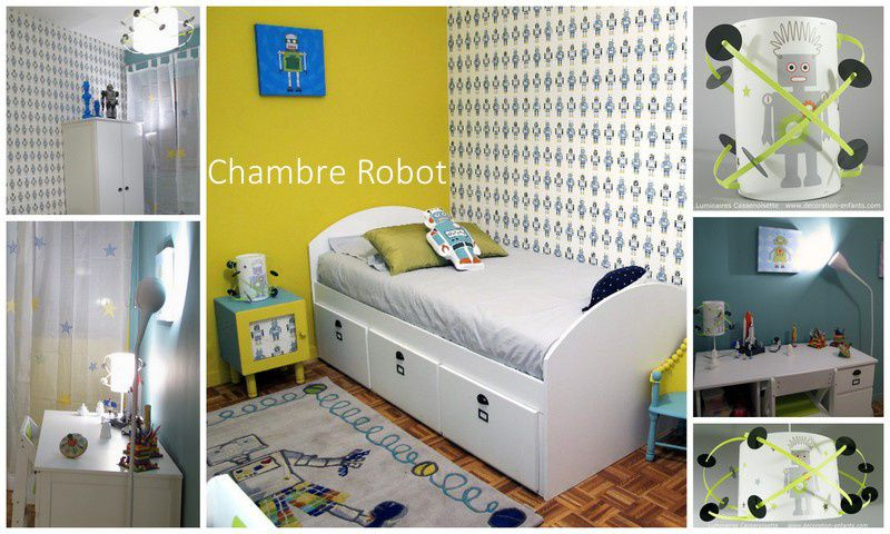 luminaires gar on chambre robot chez d co luminaire enfant lampe b b casse noisette. Black Bedroom Furniture Sets. Home Design Ideas