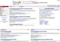 Page d'accueil de Googla news
