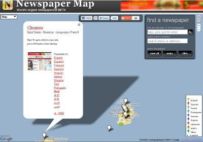 Carte de NewspaperMap montrant La Réunion