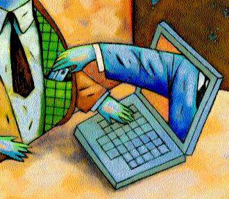 Bras sortant d'un écran pour dérober une carte bancaire