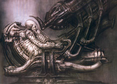 space-jockey in cockpit production art
