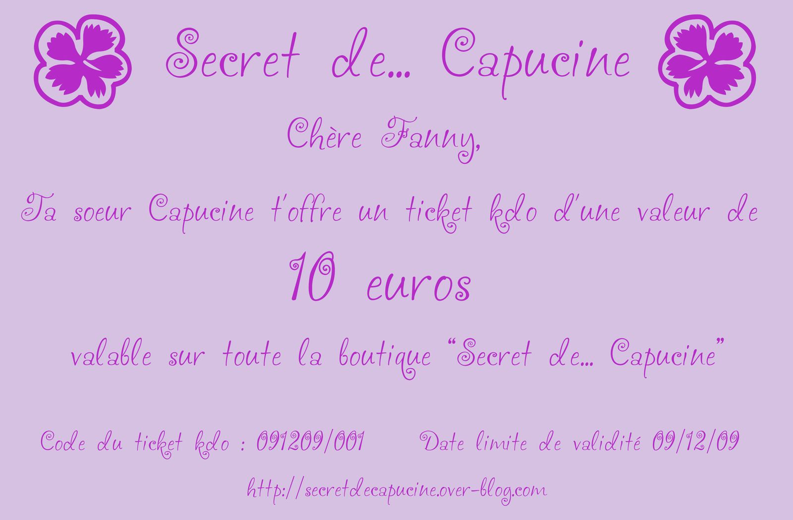 les tickets kdo secret de capucine secret de capucine. Black Bedroom Furniture Sets. Home Design Ideas