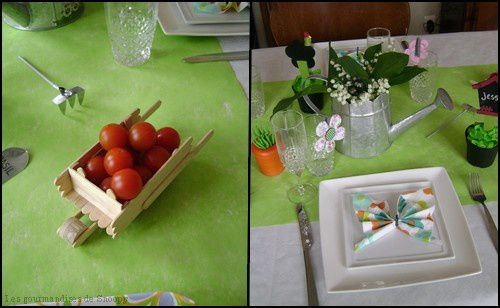D co de table jardin pliage de serviettes papillon une toqu e en cuisine for Idee deco theme jardin