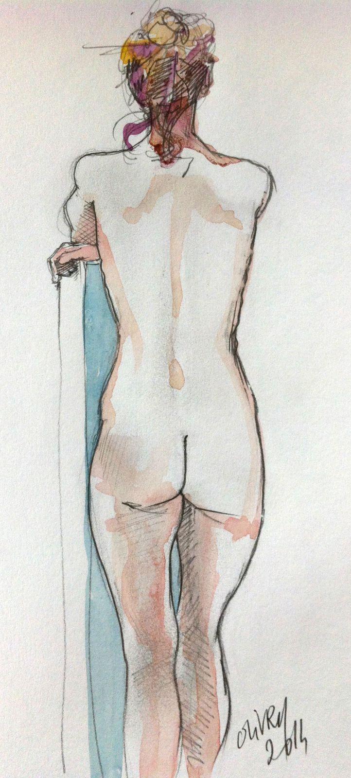 Crayon et aquarelle
