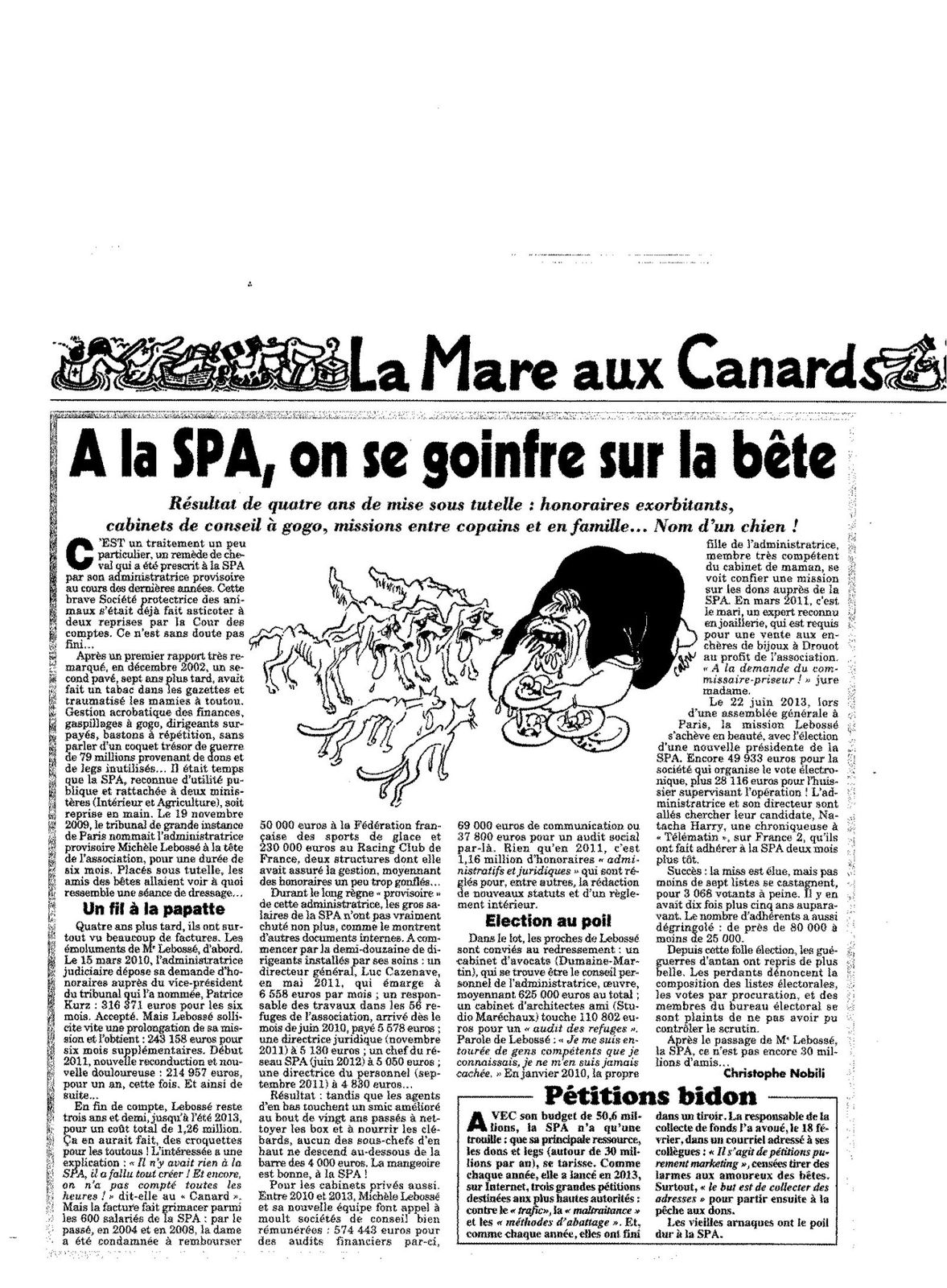 article Canard Enchaîné SPA de Paris