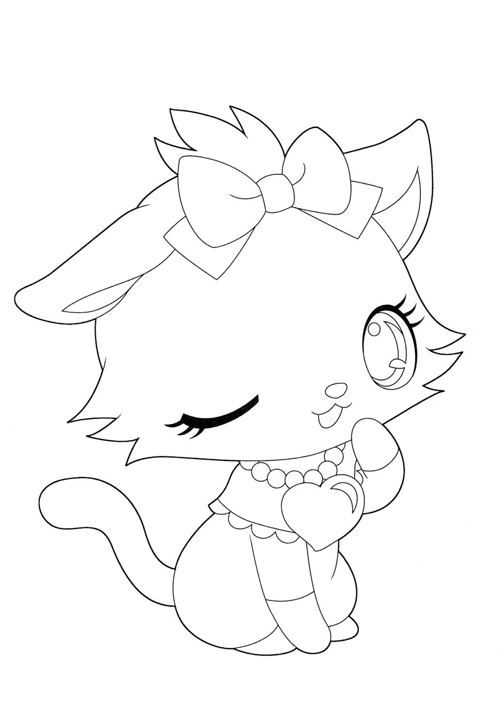 Line Drawing Pet Animals : Coloriage jewelpet linh