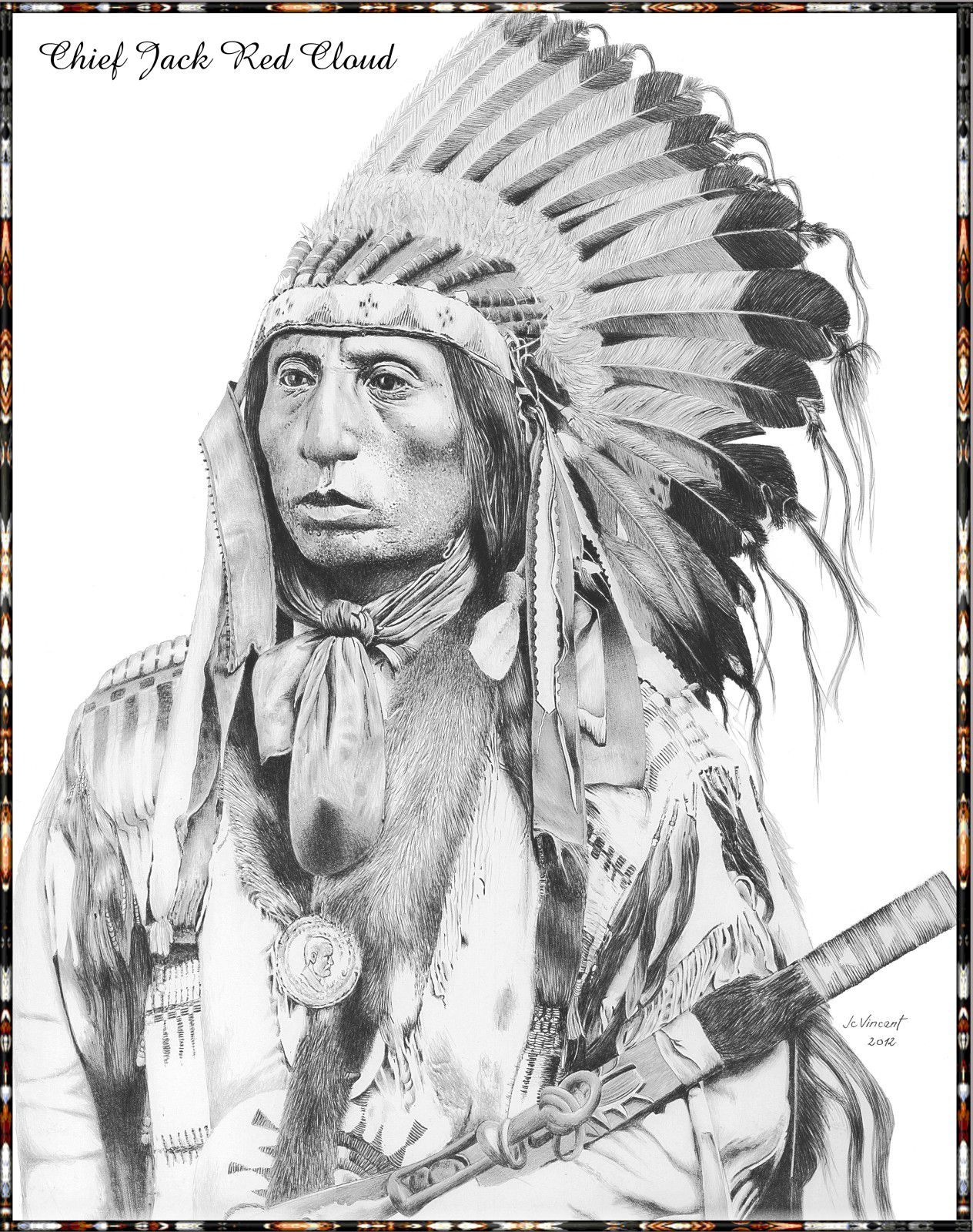 - DESSIN D'INDIEN - Chief Jack Red Cloud - 09
