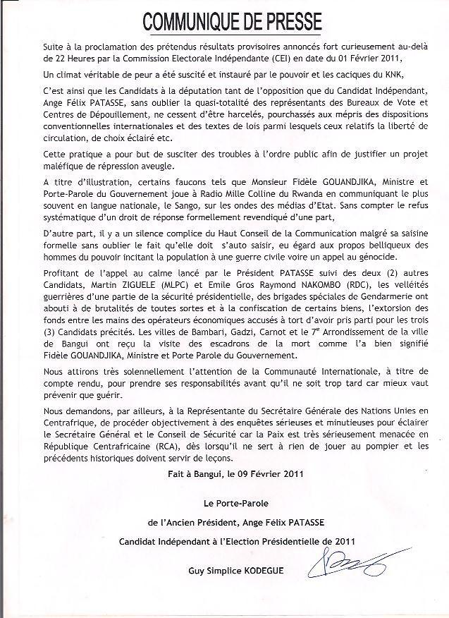 AFP Communiqué de presse par le Porte-Parole Kodégué