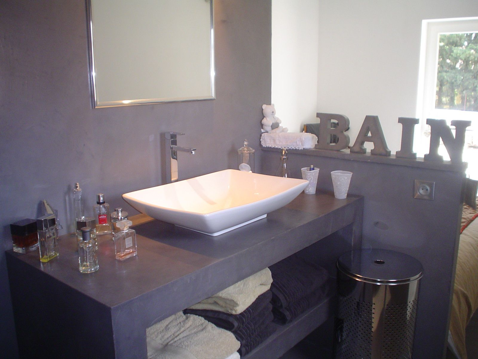 salle de bain en b ton cir gris le blog de b ton cr ation. Black Bedroom Furniture Sets. Home Design Ideas